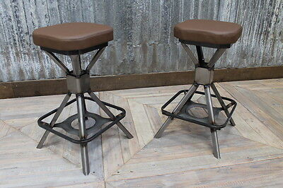 Low Backless Steel Bar Stool Uk Manufactured Industrial Style Machinist Stool