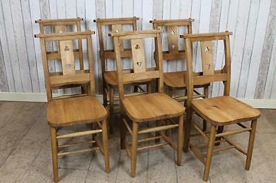 Antique Style Solid Oak Chapel Chairs Church Chairs With Cloverleaf Design