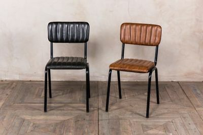 Vintage Style Ribbed Leather Dining Chairs Stacking Leather Cafe Chair 2 Colours