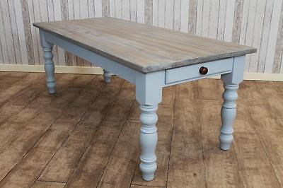 Bleached Rustic Pine Country Farmhouse Kitchen Table Handmade In Any Size In Uk