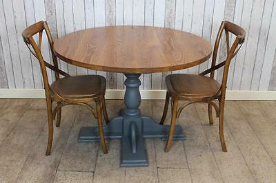 """Round Solid Oak Top Cafe Restaurant Table With Painted Base 4Ft 6"""" Handmade"""