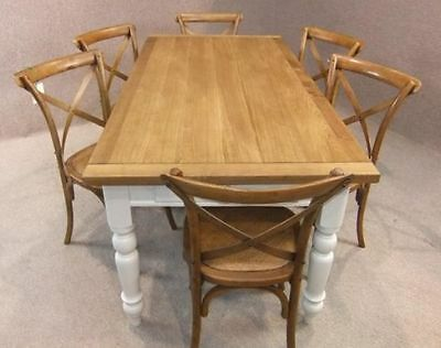 Oak And Pine Country Farmhouse Kitchen Table With Drawer Painted Base 9Ft