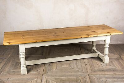 9Ft Country Farmhouse Table With Painted Refectory Base Reclaimed Pine Banbury
