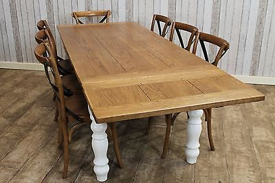 9Ft Handmade Farmhouse Kitchen Dining Table Oak Top Painted Pine Base Wooden