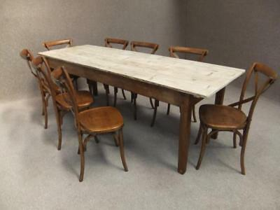 200Cm Pine Scrup Top Table & 6 Rattan Seat Bentwood Chairs