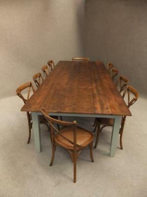 French Farmhouse Solid Wooden Dining Table & 10 Cross Back Rattan Dining Chairs