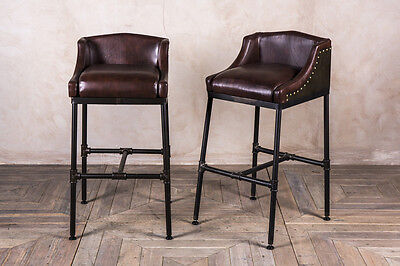 Pipework Steamer Bar Stool Leather And Steel Industrial Style Pipework Bar Stool