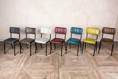 Dining Chairs Ribbed Leather Look Cafe Restaurant Chair Blue Yellow Red Brown