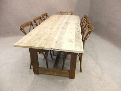 9Ft Reclaimed Pine Farmhouse Kitchen Table With Bleached Scrub Top Woodstock