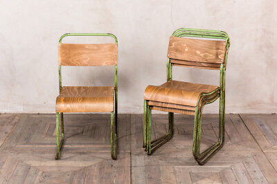 Industrial Vintage Stacking Chair Green Frame Plywood Seat Stackable Seating