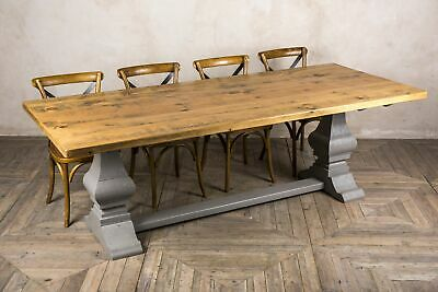 9Ft Rustic Reclaimed Pine Table With Painted Farrow & Ball Tuscan Base The Abbey