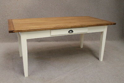 150Cm Oak And Pine Country French Farmhouse Kitchen Table With A Painted Base