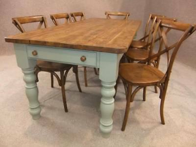 7Ft Pine Kitchen Farmhouse Table With A Painted Base Winchcombe