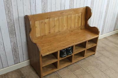 120Cm Waxed Pine Flat Back Settle Pew With Shoe Compartments Made To Order