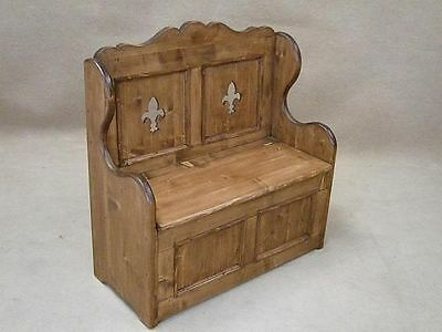 4Ft Handmade Settle Monks Bench Pew With Fleur De Lys Design In Pine