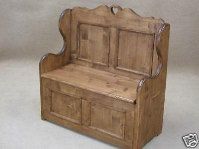 "Solid Waxed Pine Box Settle Bench 3Ft 6"" With Heart Design Can Be Painted"