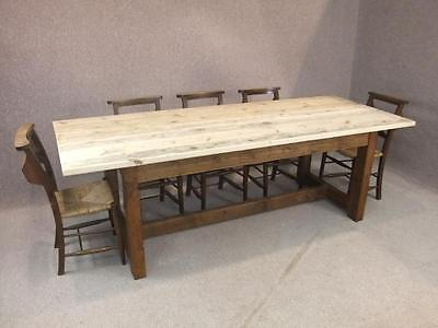 200Cm Reclaimed Pine Farmhouse Kitchen Table With Bleached Top Woodstock