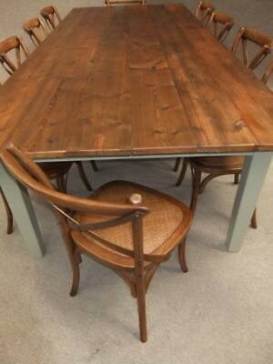 Large French Farmhouse Solid Wood Dining Table & 10 Cross Back Dining Chairs