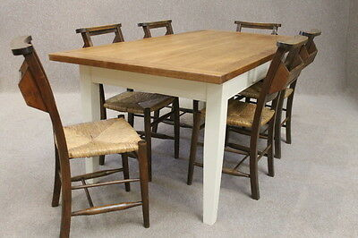 8Ft Oak And Pine Country French Farmhouse Kitchen Table With A Painted Base