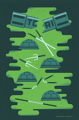 Andrew Heath SIGNED Pop Art Screen Print ~ Teenage Mutant Ninja Turtles TMNT
