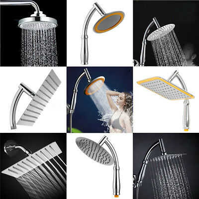 5/6/8/9/10/12/'' Hold Rain Shower Head Square Round High Pressure Bath Chrome