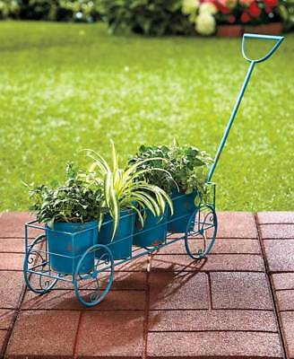 Wagon Flower Planter Metal Vintage Garden Porch Yard Lawn Outdoor Home Decor