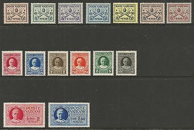 Vatican 1929 Popes And Arms/express Set (15) S.g 1-13/e14-E15, Mlh*/mnh**