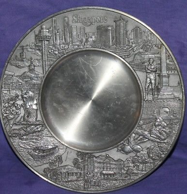 Singapore hand made pewter souvenir wall hanging plate