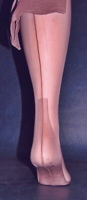 """1 Vintage seamed nylon stockings 12 X 38"""" long OUTSIZE Dark moonglow wide welt"""