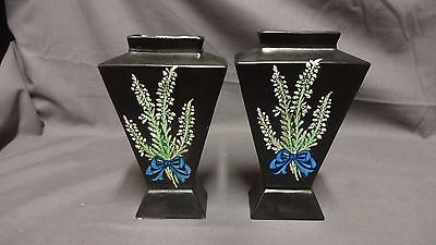 "Antique Pair Of Shelley Lucky Heather 6"" Vases"