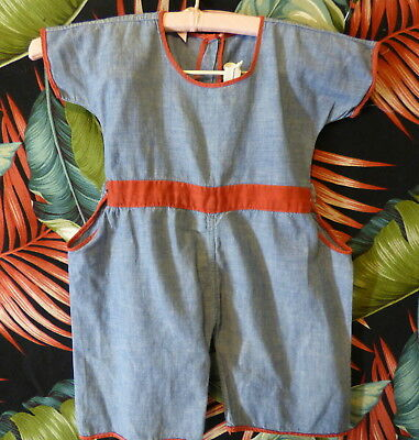30s Childs chambray blue/red cotton romper 25 breast