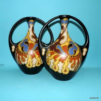Vintage Art-Crafts Gouda Zuid-Holland Dutch Folk Art Deco Nouveau Regina Vases