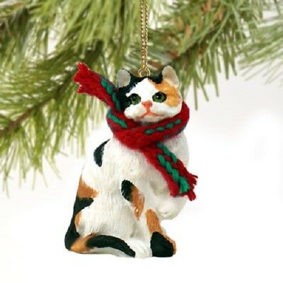 CALICO CAT Ornament HAND PAINTED Resin Figurine CHRISTMAS Holiday kitty kitten