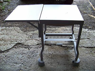 Vintage Metal Folding w/Wheels Typewriter/TV/Side Table Desk  *Steam-Punk*