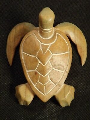Small Hand Carved Wood Sea Turtle 4 1/2 Inches Long Wooden Figure
