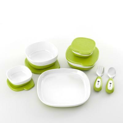 4moms Starter Set (White Green) - magnetic bowls and plate to prevent spillage