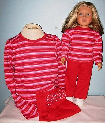 My Twinn Size and Girl's Matching Outfits Red Stripe Choice of Size 7/8 or 10/12