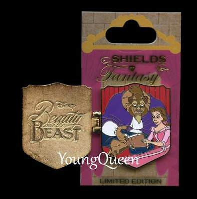 WDW Disney Shields of Fantasy Beauty Beast Belle Reading Book Hinged Le Pin