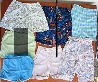 7 LOT Vtg Girls Summer Floral Side Waist Zip High Waist Rockabilly Shorts 8/10 M
