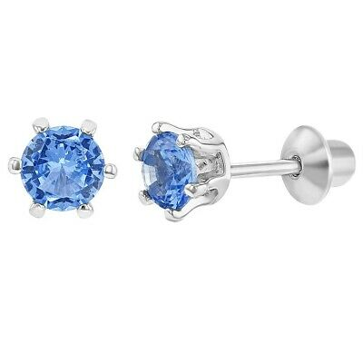 925 Sterling Silver Round CZ Prong Set Screw Back Earrings Girls Teens 4mm
