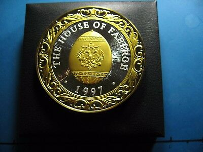 9.7 Oz 1997 House Of Faberge Egg Calendar Super Rare Silver Gold Round Coin Rare