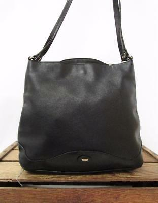 BALLY Vintage 1980s Chic Italian Black Leather Carryall Tote Bag Shoulder Purse