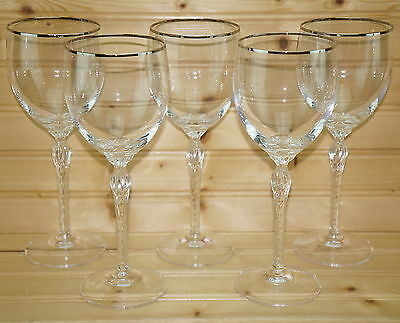 Lenox Madison Crystal (5) Water Goblets, Glasses, 8 1/2""