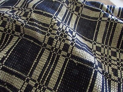 Antique Blue and White Woven Coverlet