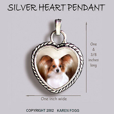 PAPILLION DOG Red White - Ornate HEART PENDANT Tibetan Silver