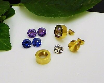 8mm Interchangeable Gold Plated Stainless Steel Earring Settings w/CZ Gemstones