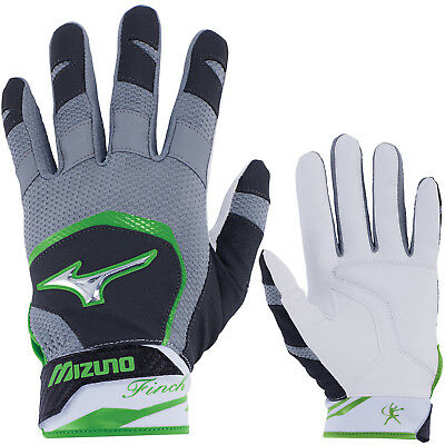 Mizuno Finch Women's Fastpitch Softball Batting Gloves - Black/Sulphur - Large
