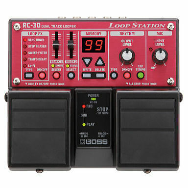Boss RC30 Loop Station Stereo Looper Pedal + 2 Free Cables & Strings