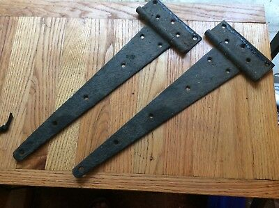 Large Pair Antique~Vintage Rustic T Hinge Strap Barn Rustic Door black