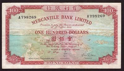 1973 Hong Kong Mercantile Bank $100 One Hundred Dollars P244e A798269 F12+